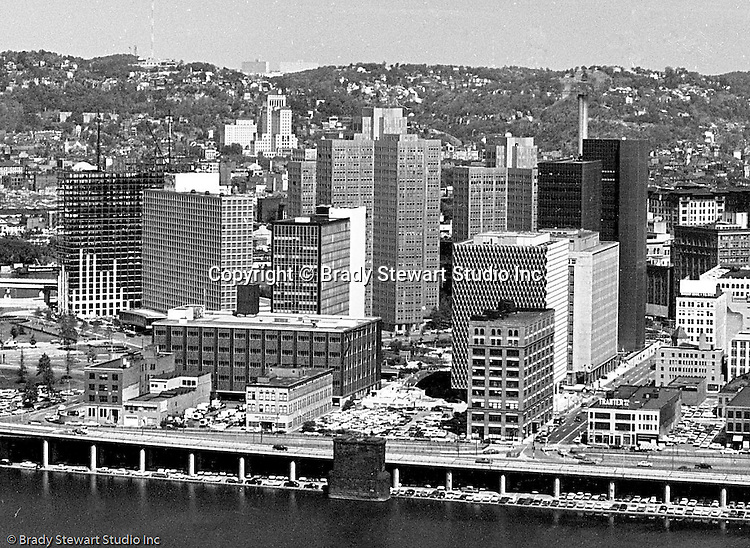 Pittsburgh PA:  View of Pittsburgh's Skyline from a Mt Washington viewing area - 1964.