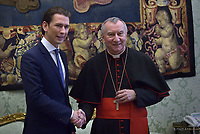 cardinal Pietro Parolin Pope Francis talks with Austrian Chancellor Sebastian Kurz, left, during their private audience at the Vatican, Monday, March 5, 2018.