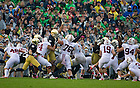 Oct. 13, 2012; Notre Dame defensive end Stephon Tuitt blocks a field goal attempt during the second quarter against Stanford at Notre Dame Stadium. Photo by Barbara Johnston/University of Notre Dame