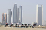 Trek-Segafredo motor along during Stage 1 of the 2019 UAE Tour, a team time trial running 16km around Al Hudayriat Island, Abu Dhabi, United Arab Emirates. 24th February 2019.<br /> Picture: LaPresse/Fabio Ferrari | Cyclefile<br /> <br /> <br /> All photos usage must carry mandatory copyright credit (© Cyclefile | LaPresse/Fabio Ferrari)