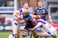 Picture by Allan McKenzie/SWpix.com - 08/04/2018 - Rugby League - Betfred Super League - Wakefield Trinity v Leeds Rhinos - The Mobile Rocket Stadium, Wakefield, England - Leeds's Jamie Jones-Buchanan is tackled by Wakefield's Tyler Randell & James Batchelor.