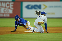 Eric Cole (2) of the Burlington Royals steals second base ahead of the tag from Yoel Romero (15) of the Kingsport Mets at Burlington Athletic Stadium on July 27, 2018 in Burlington, North Carolina. The Mets defeated the Royals 8-0.  (Brian Westerholt/Four Seam Images)