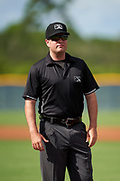 Umpire Conor McKenna before a Gulf Coast League game between the GCL Pirates  and GCL Rays on August 7, 2019 at Charlotte Sports Park in Port Charlotte, Florida.  (Mike Janes/Four Seam Images)