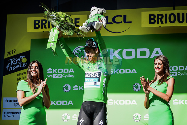 Peter Sagan (SVK) Bora-Hansgrohe retains the points Green Jersey at the end of Stage 9 of the 2019 Tour de France running 170.5km from Saint-Etienne to Brioude, France. 14th July 2019.<br /> Picture: ASO/Pauline Ballet   Cyclefile<br /> All photos usage must carry mandatory copyright credit (© Cyclefile   ASO/Pauline Ballet)
