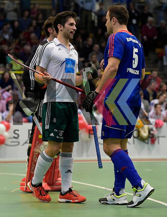 GER - Luebeck, Germany, February 06: During the 1. Bundesliga Herren indoor hockey semi final match at the Final 4 between Uhlenhorst Muelheim (white) and Mannheimer HC (blue) on February 6, 2016 at Hansehalle Luebeck in Luebeck, Germany.  Final score 2-3 (HT 7-5).  Lukas Windfeder #6 of HTC Uhlenhorst Muehlheim, Tomas Prochazka #5 of Mannheimer HC<br /> <br /> Foto &copy; PIX-Sportfotos *** Foto ist honorarpflichtig! *** Auf Anfrage in hoeherer Qualitaet/Aufloesung. Belegexemplar erbeten. Veroeffentlichung ausschliesslich fuer journalistisch-publizistische Zwecke. For editorial use only.