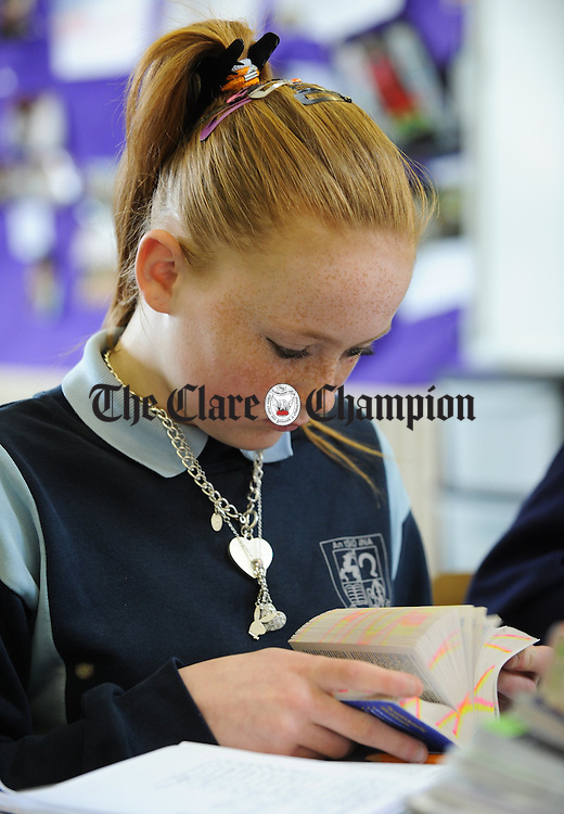 Chloe White doing her work  at St Aidan's National School, Shannon. Photograph by John Kelly.