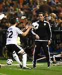 Valencia's  coach Gary Neville and Santi Mina  during Spain King Cup match. December 16, 2015. (ALTERPHOTOS/Javier Comos)