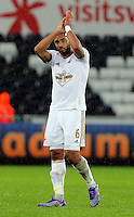 Ashley Williams of Swansea thanks home supporters after the Barclays Premier League match between Swansea City and Crystal Palace at the Liberty Stadium, Swansea on February 06 2016