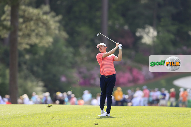 Matt Fitzpatrick (ENG) on the 14th during the 1st round at the The Masters , Augusta National, Augusta, Georgia, USA. 11/04/2019.<br /> Picture Fran Caffrey / Golffile.ie<br /> <br /> All photo usage must carry mandatory copyright credit (© Golffile | Fran Caffrey)