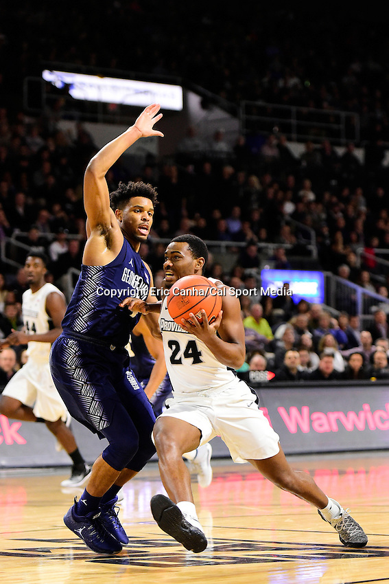 Wednesday, January 4, 2016: Providence Friars guard Kyron Cartwright (24) tries to drive by Georgetown Hoyas guard Jagan Mosely (4) on the way to the basket during the NCAA basketball game between the Georgetown Hoyas and the Providence Friars held at the Dunkin Donuts Center, in Providence, Rhode Island. Providence defeats Georgetown 76-70 in regulation time. Eric Canha/CSM