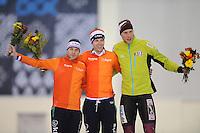 SPEED SKATING: SALT LAKE CITY: 21-11-2015, Utah Olympic Oval, ISU World Cup, Podium 10.000m Men B-Division, Arjan Stroetinga (NED), Bob de Vries (NED), Moritz  Geisreiter (GER), ©foto Martin de Jong