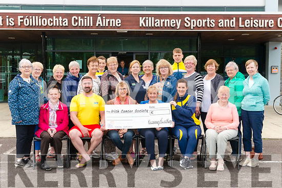 Cathal Roche and Sonia Waldron from Killarney Sports and Leisure Centre presenting a cheque for €957 to Katherina Breen and Kathleen Cronin from Irish Cancer Society in the Killarney Sports and Leisure Centre last friday. Funds were raised from Swimmathon, Aqua Classes and Bucket collections.