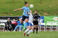 Piscataway, NJ - Friday May 13, 2016: Sky Blue FC midfielder Raquel Rodriguez (11) and Boston Breakers midfielder McCall Zerboni (77) during a regular season National Women's Soccer League (NWSL) match at Yurcak Field.