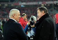 Warren Gatland chats to Steve Hansen after the 2017 DHL Lions Series rugby union 3rd test match between the NZ All Blacks and British & Irish Lions at Eden Park in Auckland, New Zealand on Saturday, 8 July 2017. Photo: Dave Lintott / lintottphoto.co.nz