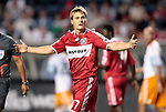 05 June 2009: Chicago Fire's Chris Rolfe complains to the assistant referee (not pictured). The Houston Dynamo defeated the Chicago Fire 1-0 at Toyota Park in Bridgeview, Illinois in a regular season Major League Soccer game.