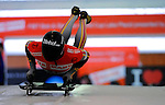 14 December 2007: Florian Grassl, racing for Germany, starts his first run at the FIBT World Cup Skeleton Competition at the Olympic Sports Complex on Mount Van Hovenberg, at Lake Placid, New York, USA. ..Mandatory Photo Credit: Ed Wolfstein Photo