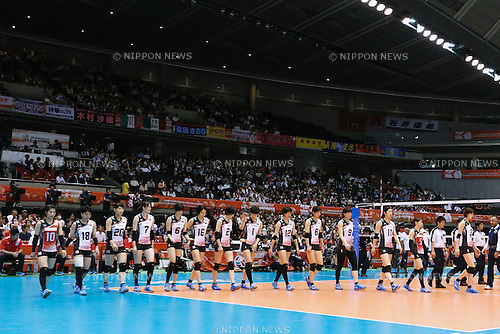 Japan Women's team group (JPN), <br /> MAY 20, 2016 - Volleyball : Women's Volleyball World Final Qualification for the Rio de Janeiro Olympics 2016 match between Japan 3-0 Dominican Republic <br /> at Tokyo Metropolitan Gymnasium, Tokyo, Japan. <br /> (Photo by Sho Tamura/AFLO SPORT)
