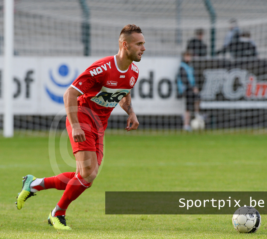 20140627 - HARELBEKE , BELGIUM:  Kortrijk's Maxime Chanot pictured during a friendly match between SW Harelbeke and Belgian first division soccer team KV Kortrijk, the third match for Kortrijk of the preparations for the 2014-2015 season, Friday 27 June 2014 in Bissegem. PHOTO DAVID CATRY