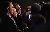 United States President Barack Obama (3rd L) greets Democrats during the General Session of the 2015 DNC Winter Meeting February 20, 2015 in Washington, DC. President Obama addressed the event and participated in a roundtable discussion. <br /> Credit: Alex Wong / Pool via CNP
