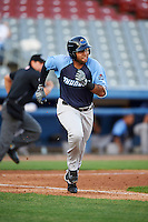 Trenton Thunder shortstop Cito Culver (23) runs to first base during the second game of a doubleheader against the Hartford Yard Goats on June 1, 2016 at Sen. Thomas J. Dodd Memorial Stadium in Norwich, Connecticut.  Trenton defeated Hartford 2-1.  (Mike Janes/Four Seam Images)