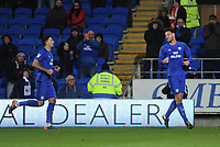 Cardiff City's Sean Morrison (right) celebrates scoring his sides second goal with team-mate Marko Grujic<br /> <br /> Photographer Kevin Barnes/CameraSport<br /> <br /> The EFL Sky Bet Championship - Cardiff City v Bolton Wanderers - Tuesday 13th February 2018 - Cardiff City Stadium - Cardiff<br /> <br /> World Copyright &copy; 2018 CameraSport. All rights reserved. 43 Linden Ave. Countesthorpe. Leicester. England. LE8 5PG - Tel: +44 (0) 116 277 4147 - admin@camerasport.com - www.camerasport.com