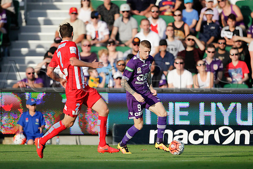 03.04.2016. NIB Stadium, Perth, Australia. Hyundai A League. Perth Glory versus Melbourne City. Andy Keogh controls the ball along the wing during the first half