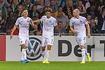 10.08.2019, wohninvest Weserstadion, Bremen, GER, DFB-Pokal, 1. Runde, SV Atlas Delmenhorst vs SV Werder Bremen<br /> <br /> DFB REGULATIONS PROHIBIT ANY USE OF PHOTOGRAPHS AS IMAGE SEQUENCES AND/OR QUASI-VIDEO.<br /> <br /> im Bild / picture shows<br /> <br /> Milot Rashica (Werder Bremen #07)<br /> Yuya Osako (Werder Bremen #08)<br /> Davy Klaassen (Werder Bremen #30)<br /> Jubel<br /> Foto © nordphoto / Kokenge