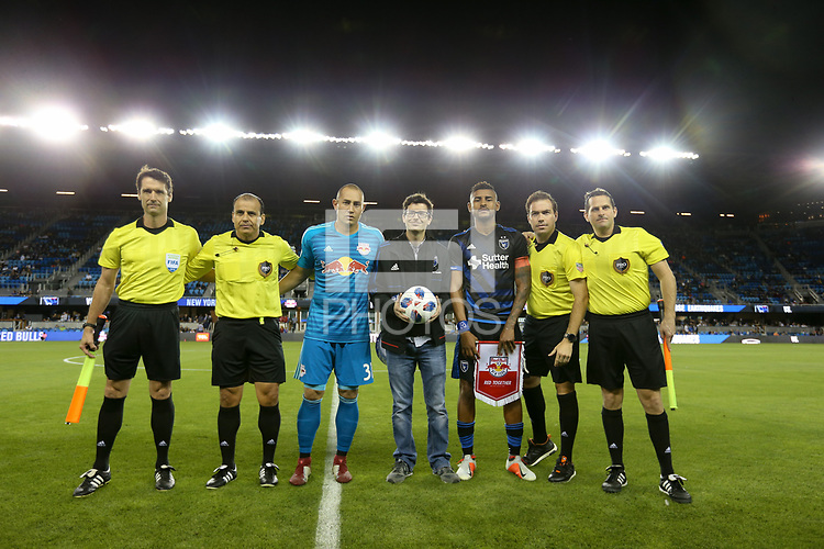 San Jose, CA - Saturday October 06, 2018: Baldomero Toledo, Luis Robles, Anibal Godoy prior to a Major League Soccer (MLS) match between the San Jose Earthquakes and the New York Red Bulls at Avaya Stadium.