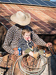 Cattle branding with the Dell'Orto family at the Ellis Ranch, Amador County, Calif.<br /> <br /> Tom Wooster and Waylon