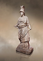 Roman statue of Athena. Marble. Perge. 2nd century AD. Inv no . Antalya Archaeology Museum; Turkey. Against a warm art background.