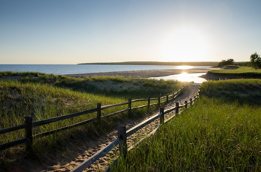 The start of beautiful summer morning at the majestic Au Train beach along Lake Superior. Au Train, MI