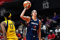 Washington, DC - Aug 8, 2019: Washington Mystics forward Elena Delle Donne (11) goes up for a basket during 2nd half action of game between the Indiana Fever and the Washington Mystics. The Mystics defeat the Fever 91-78 at the Entertainment & Sports Arena in Washington, DC. (Photo by Phil Peters/Media Images International)
