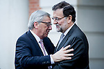 The President of Commision european Jean Claude junker visit to the president of Spain Mariano Rajoy in Moncloa Palace. 2015703/04. Samuel de Roman / Photocall3000.