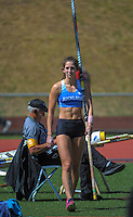 Auckland women's pole vaulter Eliza McCartney on day three of the 2015 National Track and Field Championships at Newtown Park, Wellington, New Zealand on Sunday, 8 March 2015. Photo: Dave Lintott / lintottphoto.co.nz