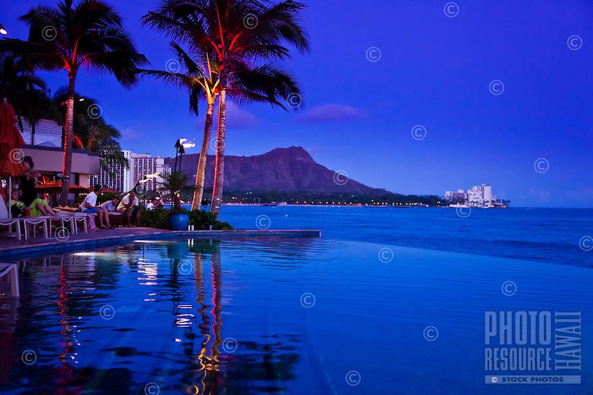 Waikiki poolside in the evening