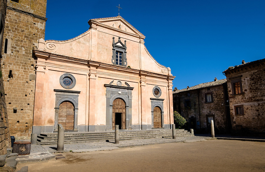 CIVITA DI BAGNOREGIO ITALY - CIRCA MAY 2015: Historic church in Church in Civita di Bagnoregio.