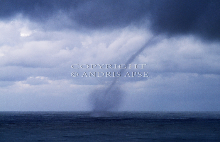Water spout over the ocean at Okarito. Westland Region. New Zealand.