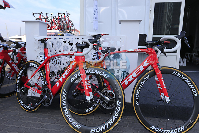 Trek-Segafredo prepare for the start of Stage 1, the Dubai Silicon Oasis Stage, of the 2016 Dubai Tour starting at the Dubai International Marine Club and running 175km to Fujairah, Mina Seyahi, Dubai, United Arab Emirates. 3rd February 2016.<br /> Picture: Eoin Clarke | Newsfile<br /> <br /> <br /> All photos usage must carry mandatory copyright credit (&copy; Newsfile | Eoin Clarke)