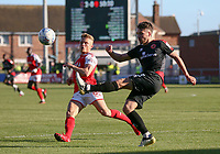 Fleetwood Town&rsquo;s Kyle Dempsey against Walsall's Luke Leahy <br /> <br /> Photographer Leila Coker/CameraSport<br /> <br /> The EFL Sky Bet League One - Fleetwood Town v Walsall - Saturday 5th May 2018 - Highbury Stadium - Fleetwood<br /> <br /> World Copyright &copy; 2018 CameraSport. All rights reserved. 43 Linden Ave. Countesthorpe. Leicester. England. LE8 5PG - Tel: +44 (0) 116 277 4147 - admin@camerasport.com - www.camerasport.com