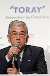 August 25, 2011, Tokyo, Japan - Akihiro Nikkaku, president of Japans Toray Industries Inc., speaks during a news conference in Tokyo on Thursday, August 25, 2011. Toray, the countrys biggest synthetic fiber maker, and Uniqlo, a core unit of Fast Retailing Co., have formed a strategic partnership under which they jointly develop new products and materials, with revolutionary thermal underwear Heattech one successful example of their collaboration. Since Uniqlo started marketing Heattech products, cumulative sales to date total 199 million items. Casual clothing store chain Uniqlo Co., a core unit of Fast Retailing, said it is aiming for 25% growth in sales volume globally for its Heattech line this winter. (Photo by AFLO) [3609] -mis-