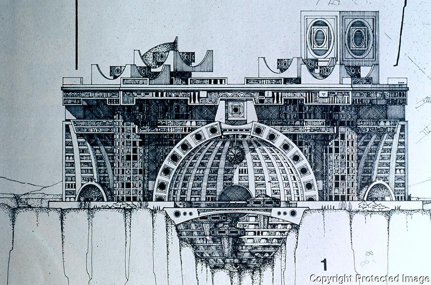 Paolo Soleri: ARCOSANTI, side elevation. Photo '77.