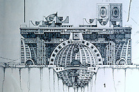 Paolo Soleri: ARCOSANTI, side elevation. Photo '77.