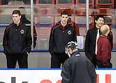 Stephen Greenberg (BC - Student Manager), Mike Feeley (BC - Student Manager), Samson Lee - The Northeastern University Huskies defeated the Boston College Eagles 3-2 on Friday, February 19, 2010, at Matthews Arena in Boston, Massachusetts.