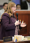 Nevada Assemblywoman Maggie Carlton, D-Las Vegas, speaks on the Assembly floor at the Legislative Building in Carson City, Nev., on Friday, May 22, 2015. <br /> Photo by Cathleen Allison