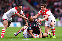 Picture by Alex Whitehead/SWpix.com - 30/03/2018 - Rugby League - Betfred Super League - St Helens v Wigan Warriors - Totally Wicked Stadium, St Helens, England - Wigan's Willie Isa is tackled by St Helens' Zeb Taia, Jonny Lomax and Jon Wilkin.