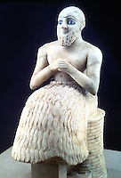 World Civilization:  Mari, Syria (Upper Euphrates)--Statue of l'Intendant (Ebih-Il).  Louvre, Paris.