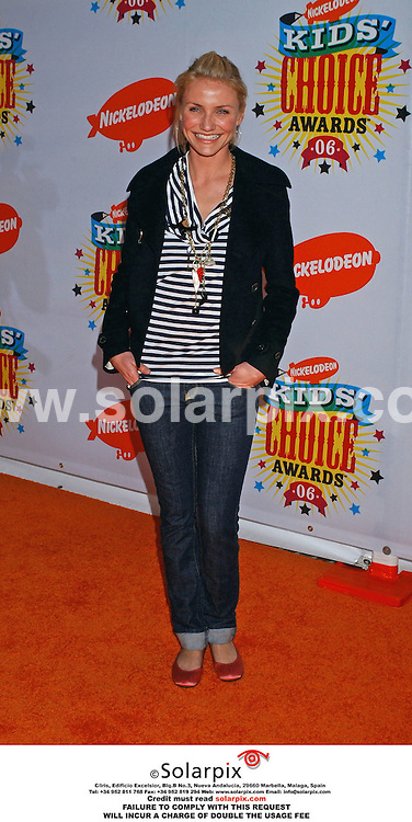 ALL ROUND PICTURES FROM SOLARPIX.COM..Celebrity winners and guests arrive for the Nickelodeon Kids Choice Awards at UCLA's Pauley Pavilion in Beverly Hills, California  on April 1, 2006. Job Ref: 2222/GLS..This pic: Cameron Diaz.MUST CREDIT SOLARPIX.COM.