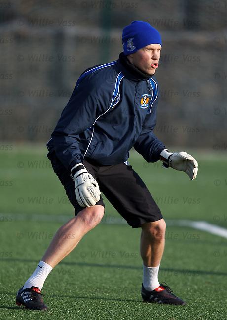 New Finnish goalkeeper Anssi Jaakkola training with Kilmarnock ahead of their Scottish Cup tie with Rangers