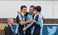 Celebrations as Luke O'Nien (left) of Wycombe Wanderers scores his first goal for the club making it 1-0 during the Sky Bet League 2 match between Wycombe Wanderers and Northampton Town at Adams Park, High Wycombe, England on 3 October 2015. Photo by Andy Rowland.