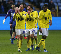 The Blackburn Rovers players applaud the travelling fans at the final whistle<br /> <br /> Photographer David Shipman/CameraSport<br /> <br /> The EFL Sky Bet Championship - Sheffield Wednesday v Blackburn Rovers - Saturday 16th March 2019 - Hillsborough - Sheffield<br /> <br /> World Copyright &copy; 2019 CameraSport. All rights reserved. 43 Linden Ave. Countesthorpe. Leicester. England. LE8 5PG - Tel: +44 (0) 116 277 4147 - admin@camerasport.com - www.camerasport.com